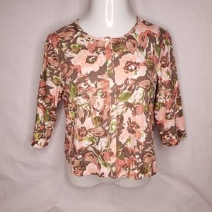 J. Jill Large Floral Cotton Cropped Button Front